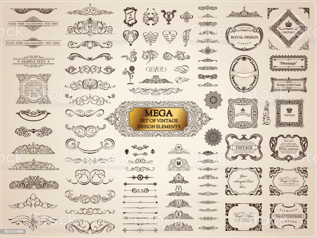 Calligraphic vintage elements. Vector baroque set. Design icons – artystyczna grafika wektorowa