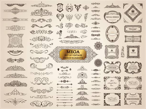 calligraphic vintage elements. vector baroque set. design icons - retro and vintage frames stock illustrations, clip art, cartoons, & icons