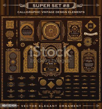 Calligraphic Design emblems set. Vintage crest Gold elements. Vector flourishes illustration. Border frame collection royal ornament page decoration for menu card, invitations, labels, Restaurant, Cafe, Hotel