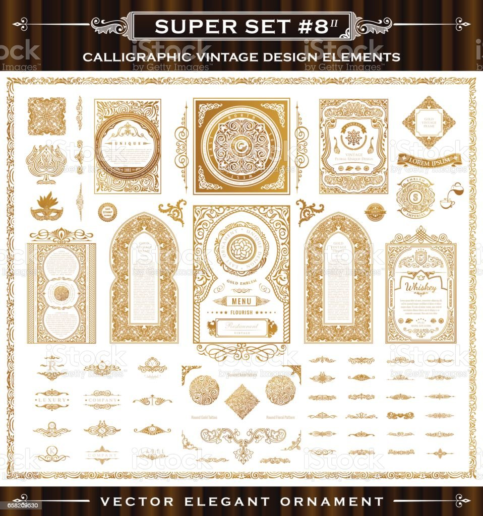 Calligraphic vintage elements. Vector baroque set vector art illustration