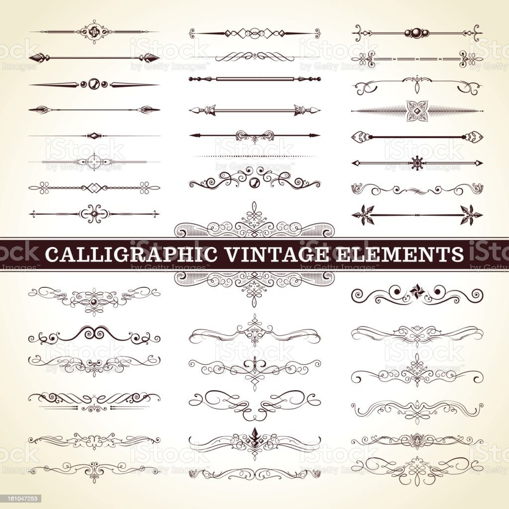 Calligraphic Vintage Elements vector art illustration