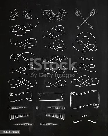 Calligraphic elements in vintage graphic style drawing with chalk on chalkboard background
