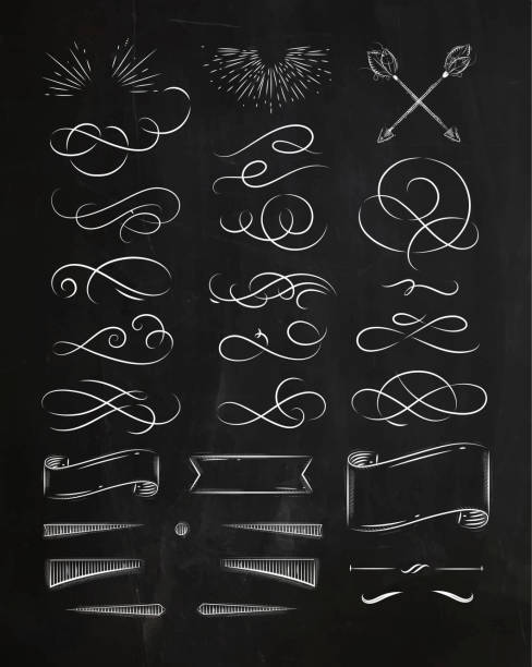 calligraphic vintage graphic elements chalk - cztery żywioły stock illustrations