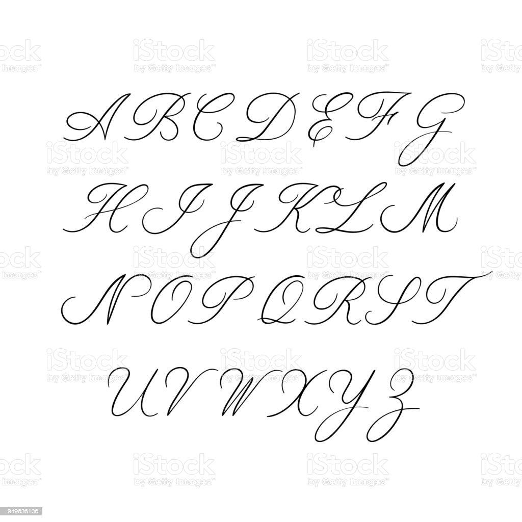 Wedding Calligraphy Fonts.Calligraphy Alphabet Decorative Handwritten Brush Font Vector