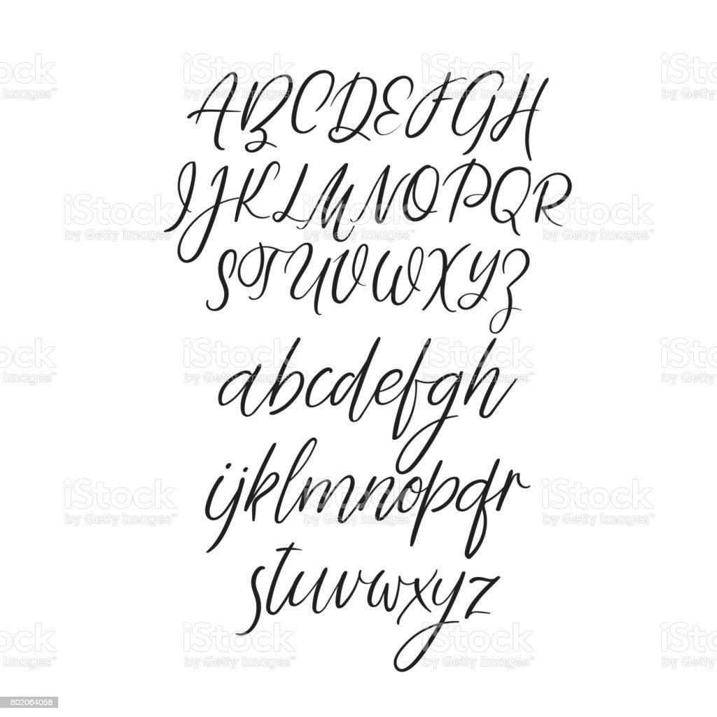 Calligraphy Alphabet Handwritten Brush Letters Uppercase