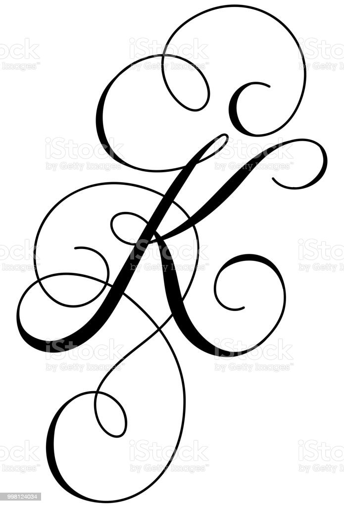 Calligraphy Alphabet Letter K Stock Illustration Download