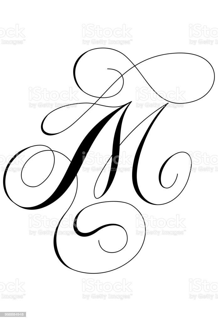 Calligraphy Alphabet Letter M Royalty Free Stock Vector Art Amp