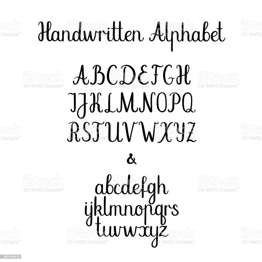 Calligraphy alphabet lowercase uppercase vector