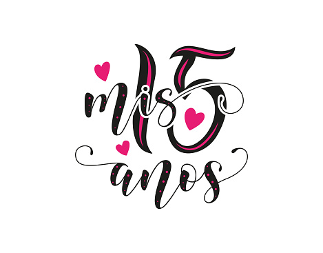 Calligraphy for Latin American girl birthday celebration. Lettering for Quinceanera party. Black text with pink hearts isolated on white background. Vector stock illustration. Mis 15 anos.
