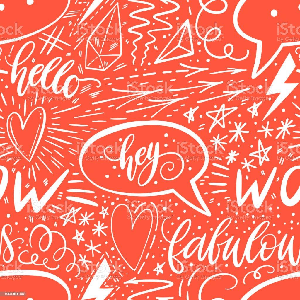 kalligraphie hand schriftzug nahtlose muster positive zeichen stern herz sprechblasen geometrischen - Handyhullen Muster