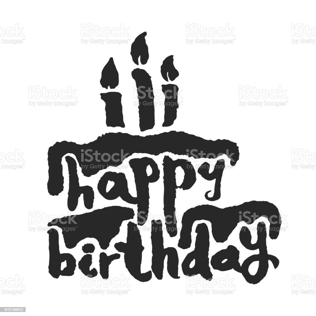 Calligraphy happy birthday cake stock vector art more