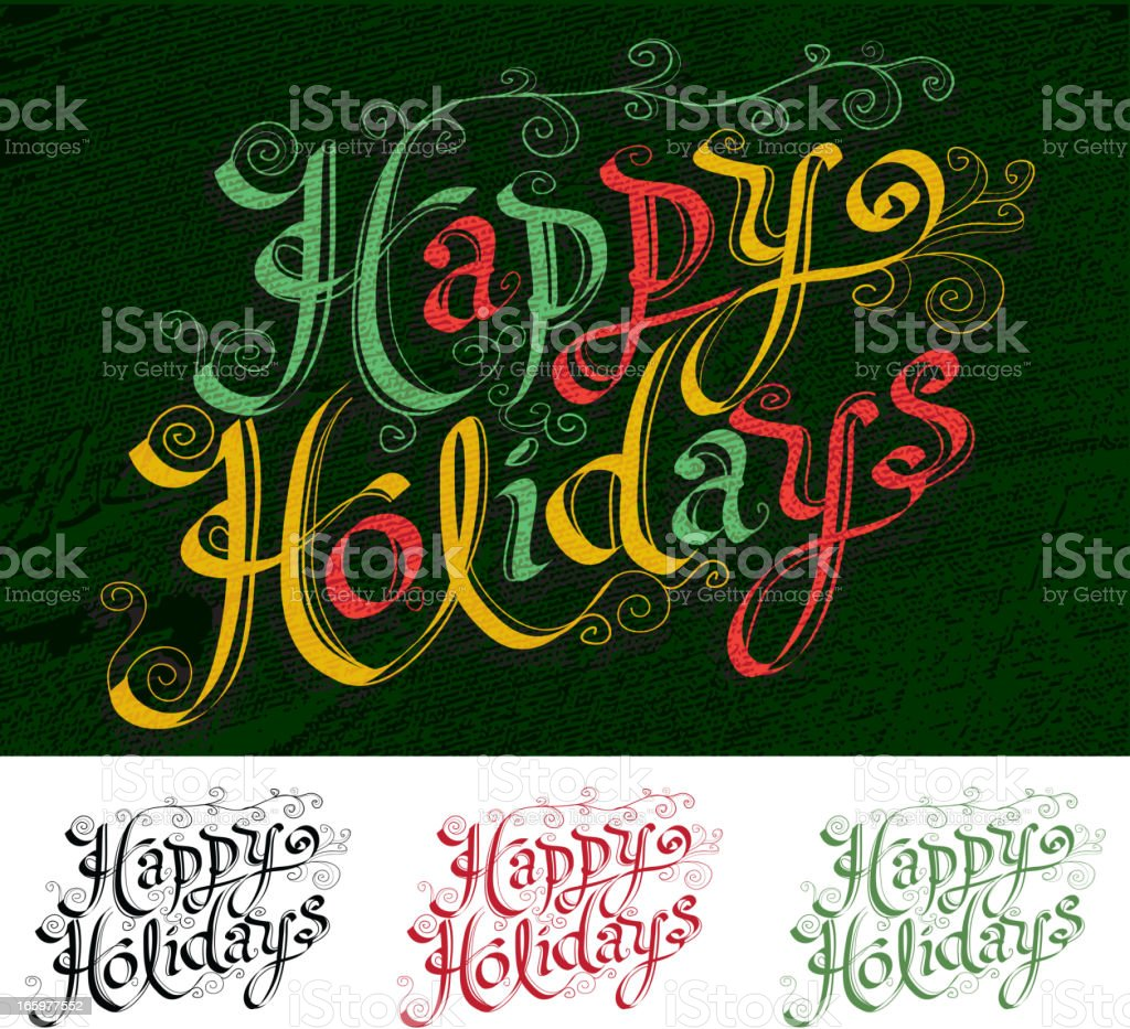 Calligraphy Happy Holidays script type variations royalty-free stock vector art