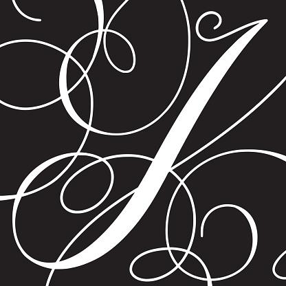 Calligraphy Initial Capital Letter I стоковая векторная