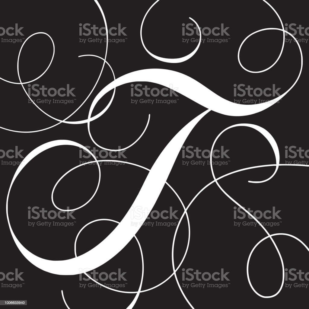 Calligraphy Initial Capital Letter T Royalty Free Stock Vector Art
