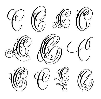 Calligraphy Lettering Script Font C Set Hand Written