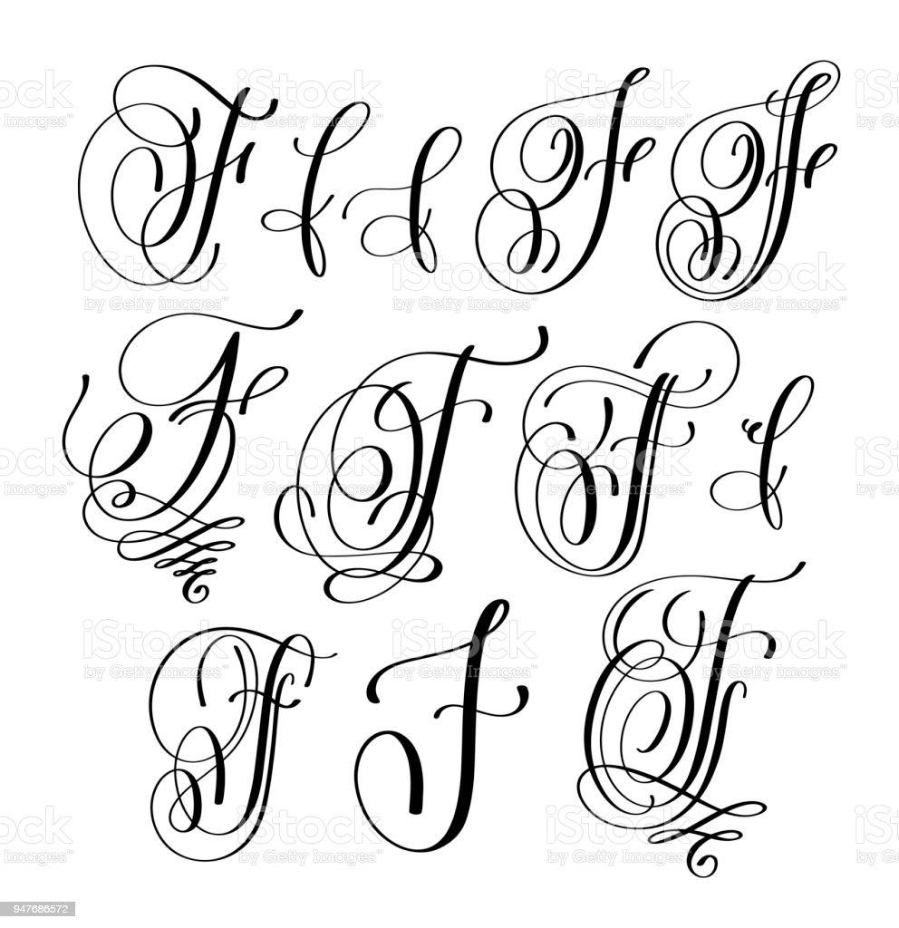 Vetores de Caligrafia Letras Script Fonte F Definido ...