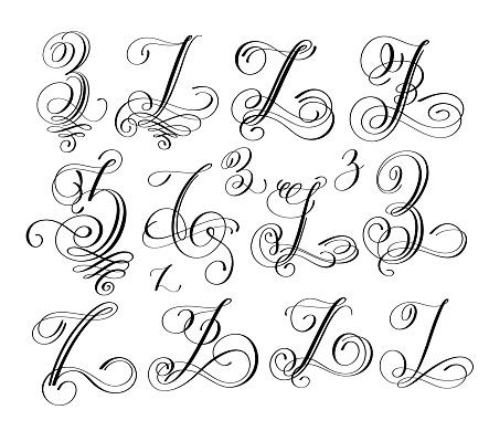 Calligraphy Lettering Script Font Z Set Hand Written