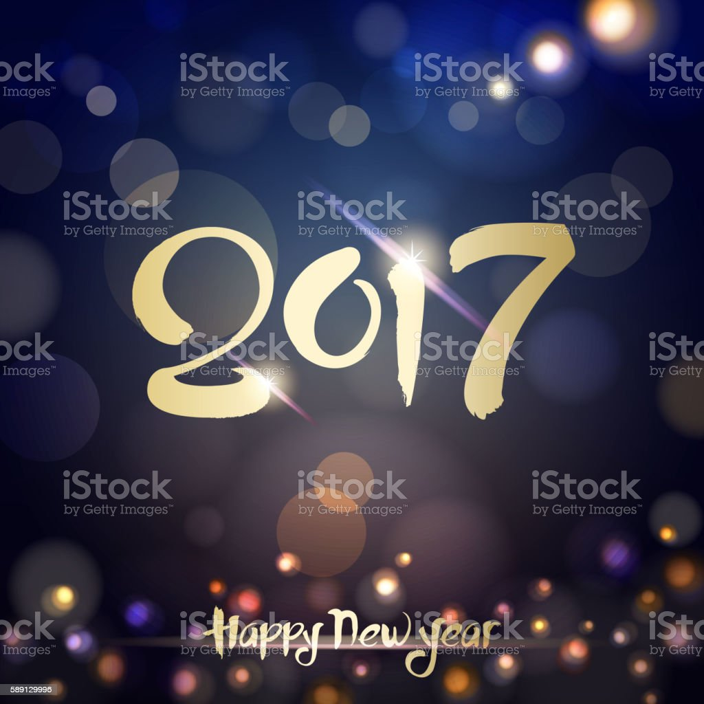 2017 Calligraphy New Year Night vector art illustration
