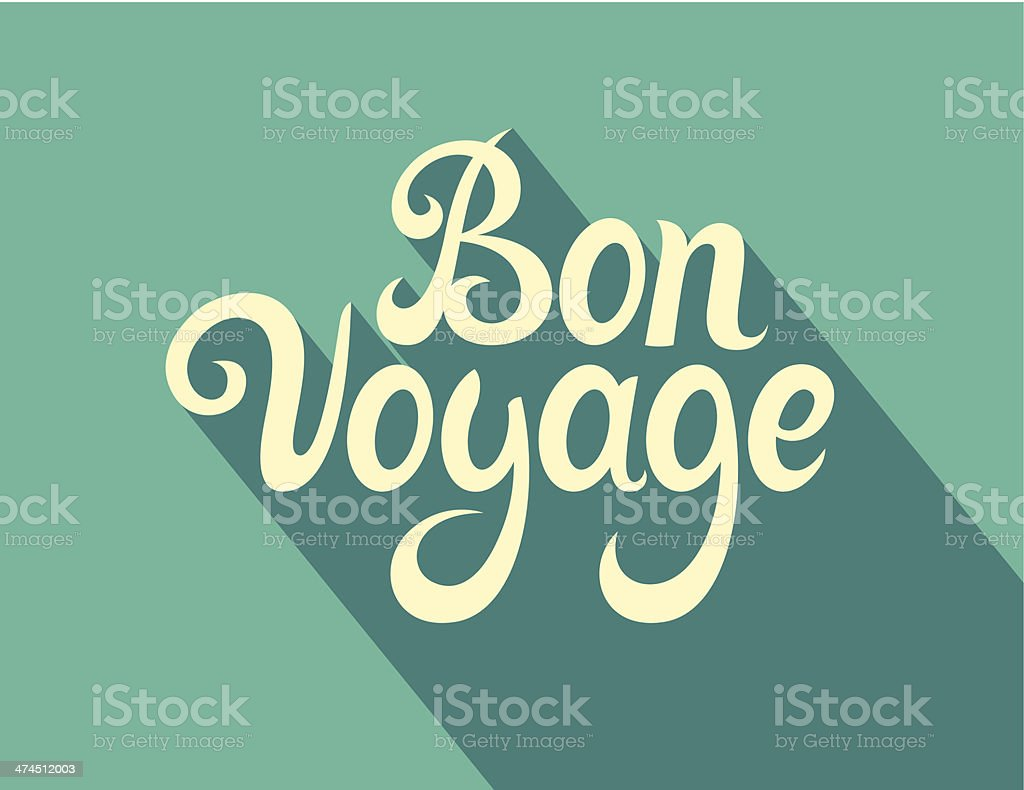 Calligraphy note cards - Bon Voyage vector art illustration