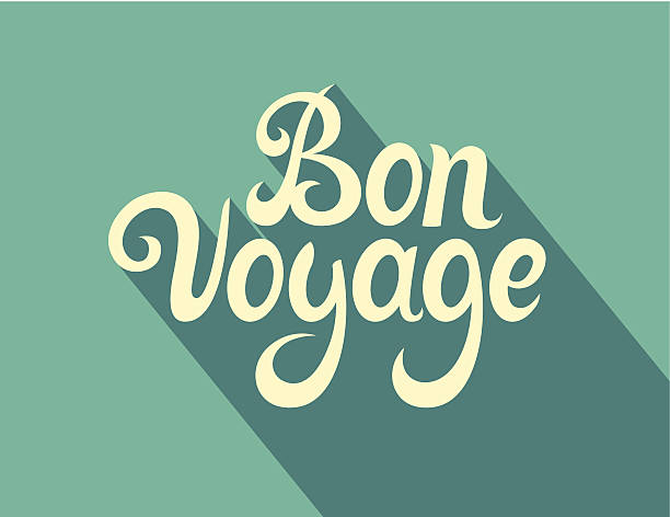Calligraphy note cards - Bon Voyage vector art illustration