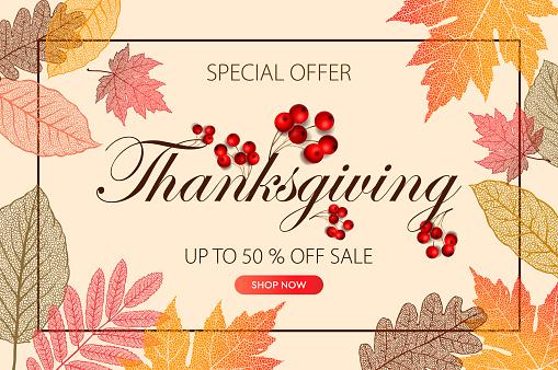 Calligraphy of Thanksgiving Day Sale banner. Seasonal lettering, vector illustration