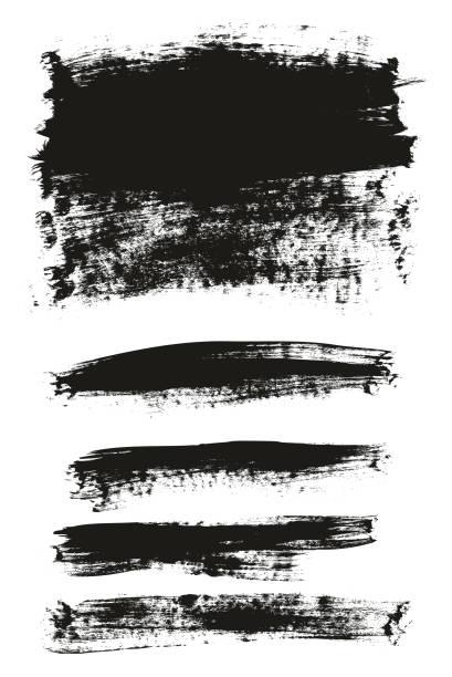 stockillustraties, clipart, cartoons en iconen met kalligrafie paint brush achtergrond mix hoog detail abstract vector achtergrond instellen 147 - geërodeerd