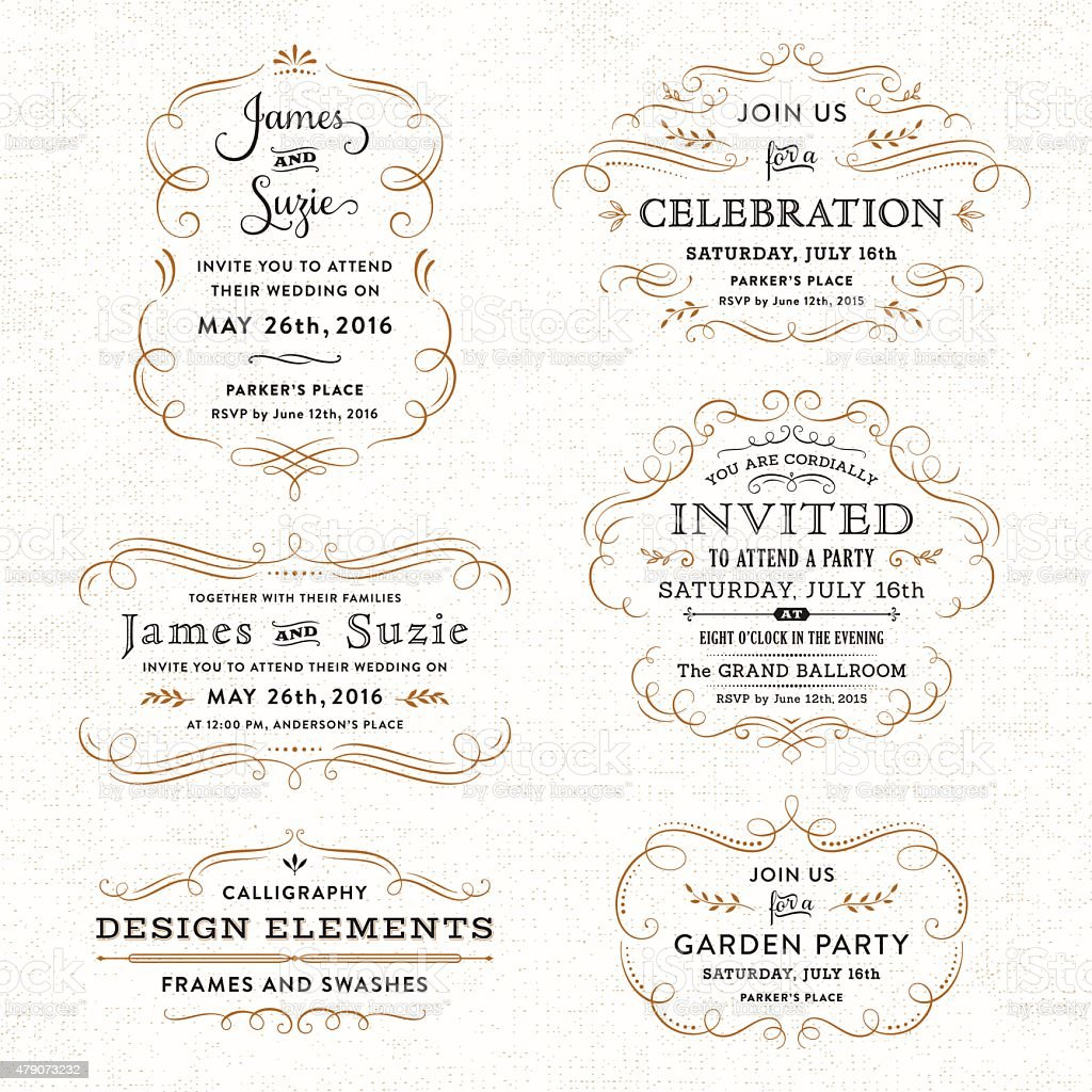 Invitation Party Wedding Free Vector Graphic On Pixabay: Calligraphy Party Wedding Invitations Stock Vector Art