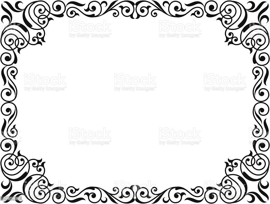 calligraphy penmanship curly baroque frame black royalty-free stock vector art