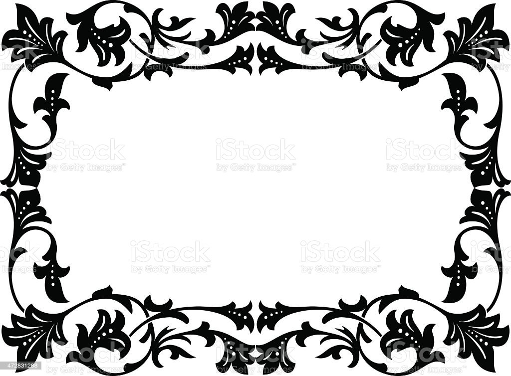 Calligraphie Penmanship Bouclés Cadre Baroque Noir Cliparts