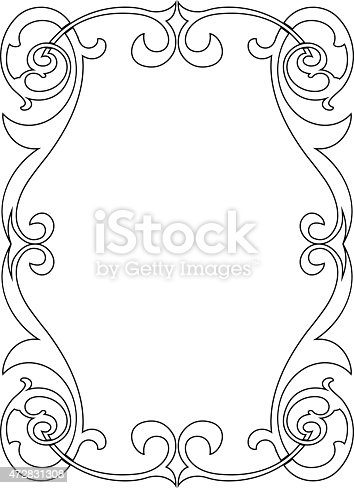 Calligraphy Penmanship Curly Baroque Frame Black Stock Vector Art ...
