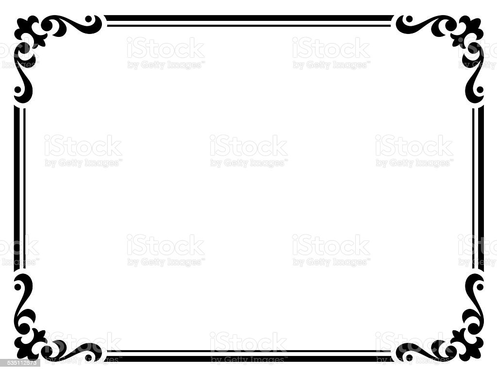 Calligraphy Penmanship Curly Baroque Frame Black Stock Vector Art