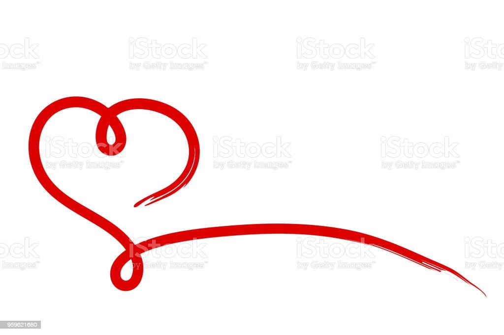 Corazón de caligrafía cinta roja sobre fondo blanco, Ilustración Stock Vector - arte vectorial de Abstracto libre de derechos