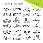 Calligraphy scroll elements. Decorative retro flourish swirled vector elements for letters, simple swirling decor designelements, ornate elegant line swirls isolated on white