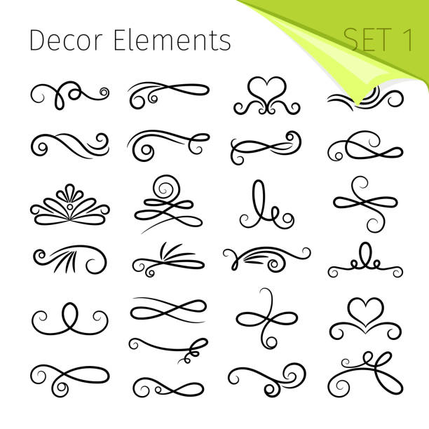 calligraphy scroll elements. decorative retro flourish swirled vector elements for letters, simple swirling decors - kręcone włosy stock illustrations