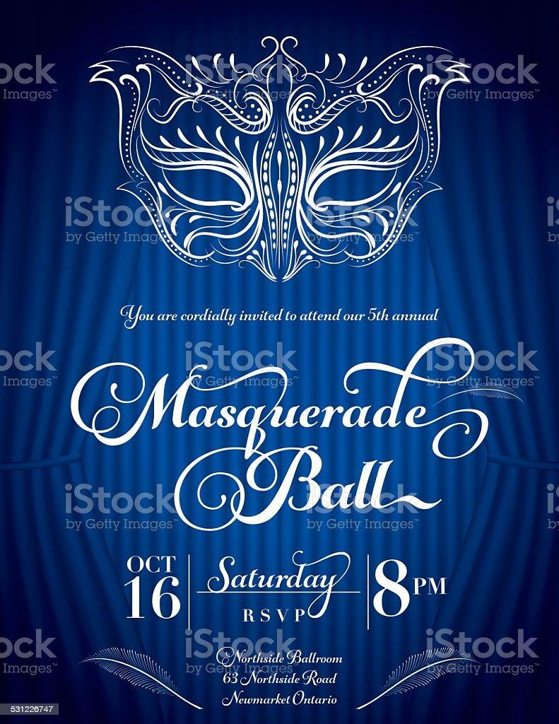 Calligraphy Style Masquerade Mask Invitation Blue vector art illustration