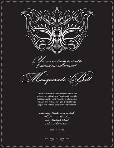 Calligraphy Style Masquerade Mask Invitation