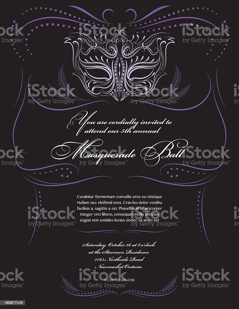Calligraphy Style Masquerade Mask Invitation vector art illustration