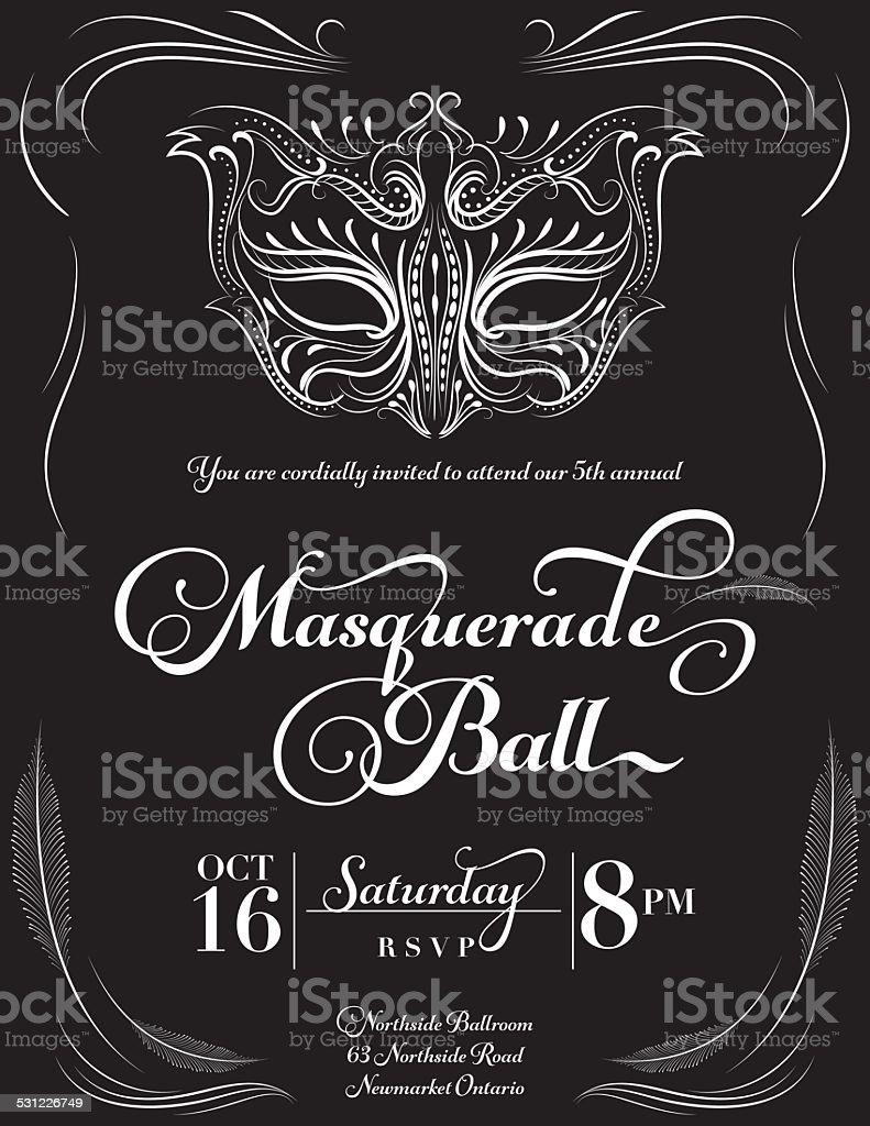 Calligraphy Style Masquerade Mask Invitation Stock Vector Art & More ...