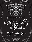 "Hand drawn Sketchy style Masquerade Mask with white swirly lines vertical Design ""Masquerade Ball"" Party Invitation with text under the mask.  The white line art drawing mask is above the text.  The invitation is on a black background."