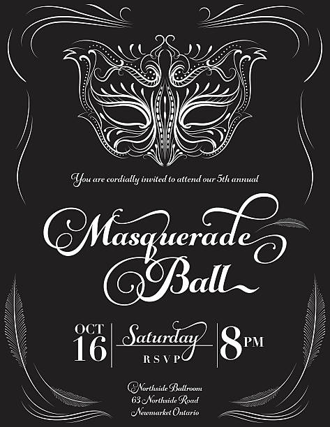 Calligraphy Style Masquerade Mask Invitation vector art illustration