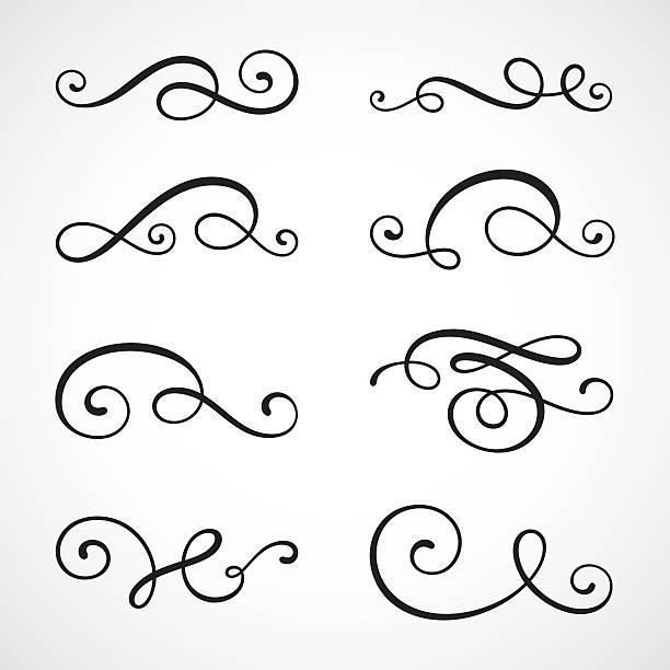 каллиграфия завитками - закрученный stock illustrations
