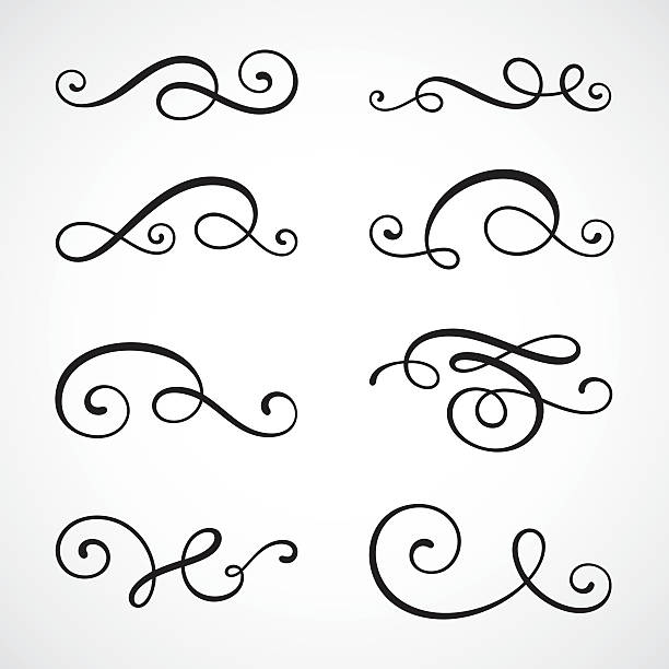 stockillustraties, clipart, cartoons en iconen met calligraphy swirls - tekstornament