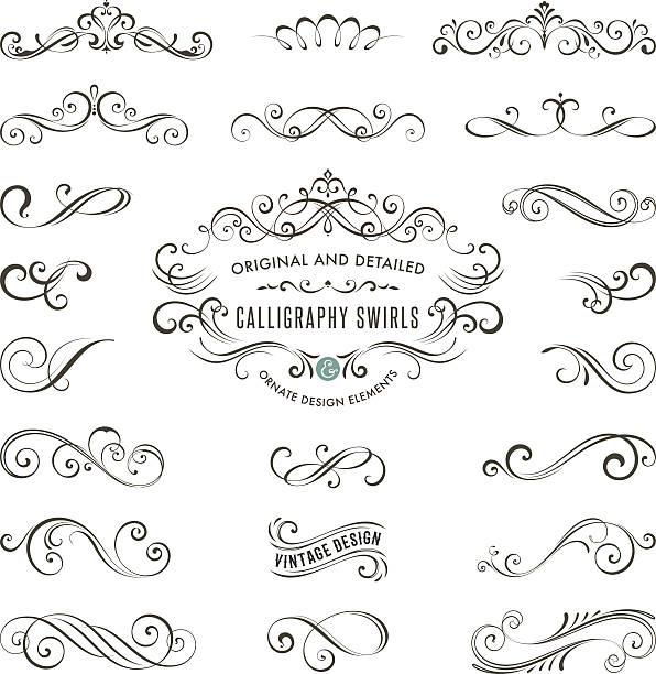 illustrations, cliparts, dessins animés et icônes de calligraphie tourbillons - tatouages de bannières