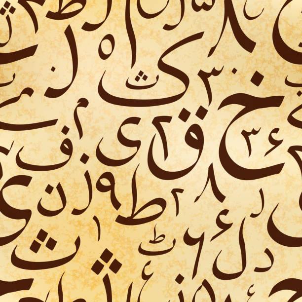 illustrations, cliparts, dessins animés et icônes de lettres ourdou calligraphie sur vieux parchemin antique, abstraite modèle sans couture - cours de langue