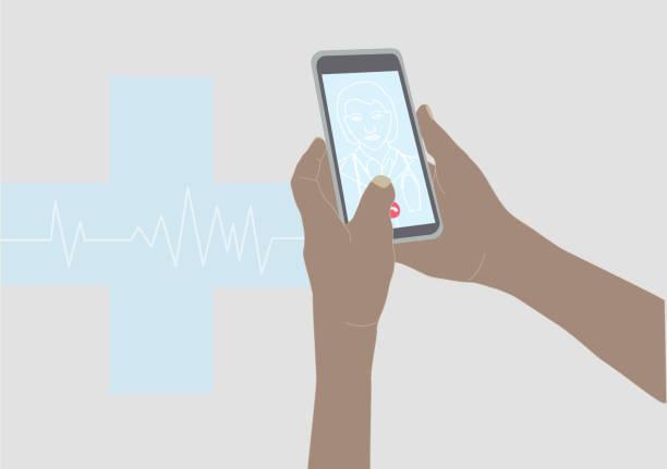illustrazioni stock, clip art, cartoni animati e icone di tendenza di chiamare il medico con una videochiamata con uno smartphone - woman chat video mobile phone
