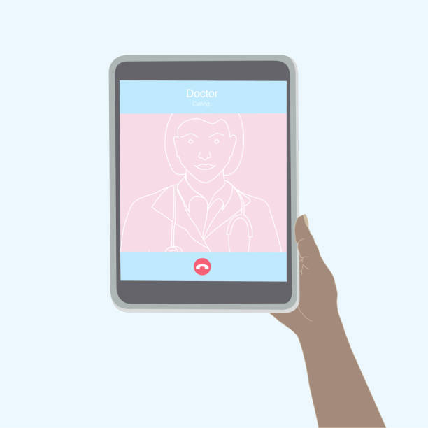 illustrazioni stock, clip art, cartoni animati e icone di tendenza di chiamata al medico tramite una videochiamata con un tablet - woman chat video mobile phone