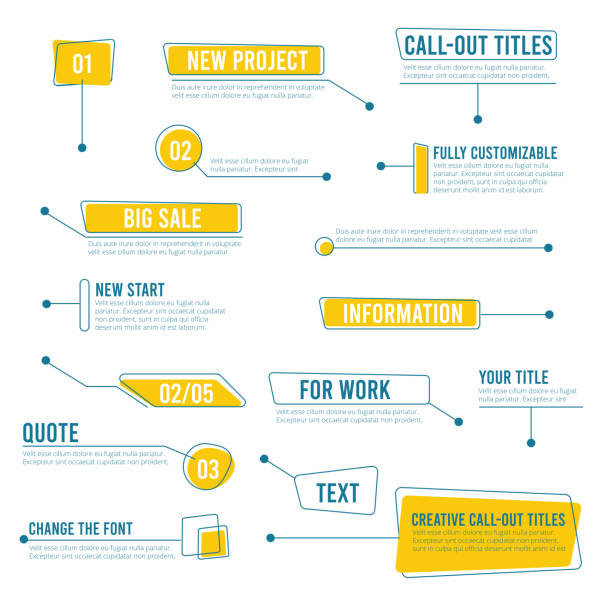 Callout banners. Digital labels social boxes text templates chart boards vector infographics Callout banners. Digital labels social boxes text templates chart boards vector infographics. Call out shape for message information illustration challenge stock illustrations