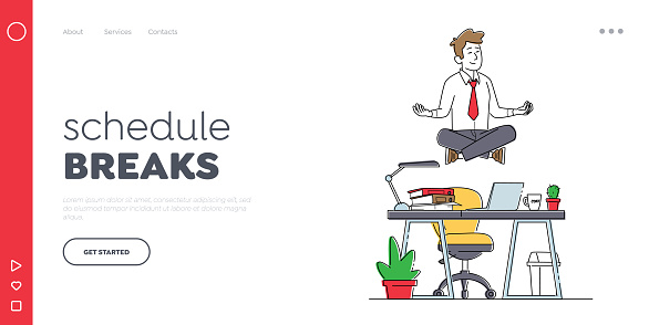 Calm Businessman Character Break in Office Landing Page Template. Worker Meditating at Workplace. Relaxed Man doing Yoga