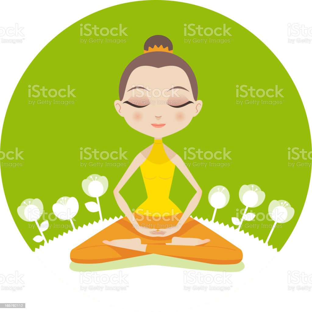 Calm cartoon woman in lotus position with flowers royalty-free stock vector art