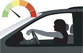 Colored odometer with silhouette illustration of a woman in her car, waiting at the light.